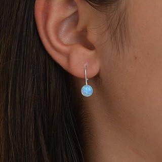 Orecchini con opale in argento sterling con gancio Leverback Orecchini pendenti con opale in argento e argento con opale d...
