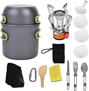 REOUG 1-2 People Camping Cookware Stove Carabiner Picnic Knife Spoon Bowl Outdoor Cooking Set