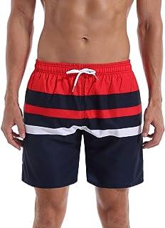 QRANSS Men's Stripe Swim Trunks Beach Swim Shorts