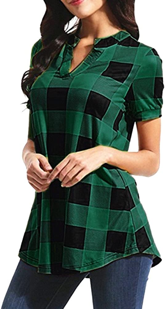 Meikosks Women's Plaid Printed T-Shirt Max 57% OFF Price reduction Sleeve Short V-Neck Tops