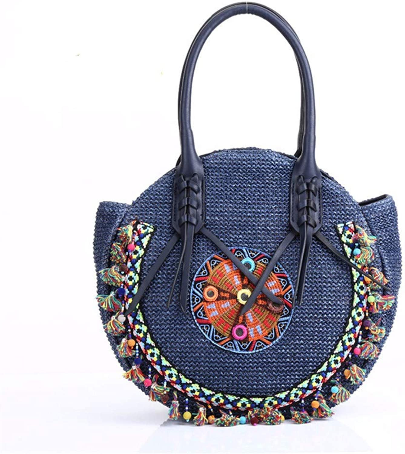 Ladies Handbag Bag Lady pp Beach Straw Rounded Handbag Gypsy Women Tote Ethnic Shoulder Crossbody, blueee