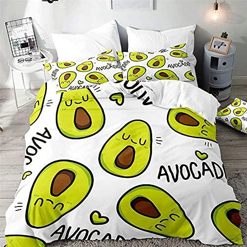 Bettwäsche Set Bettbezug Avocado-Herz 155x220 cm weich & kuschelig 3 teilig Microfaser Bettwäsche mit 2 Kissenbezug