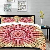 Bedding Juego de Funda de Edredón,Microfibra -Batik, gradiente circular Patrón de batik con pliegues espectrales y - Funda de Nórdico y Fundas de Almohada - (Cama 220 x 240cm + Almohada 63X63cm)