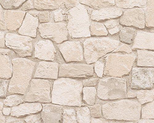 A.S. Création Papiertapete Dekora Natur Ökotapete Tapete in Naturstein Optik 10,05 m x 0,53 m beige braun bunt Made in Germany 692429 6924-29