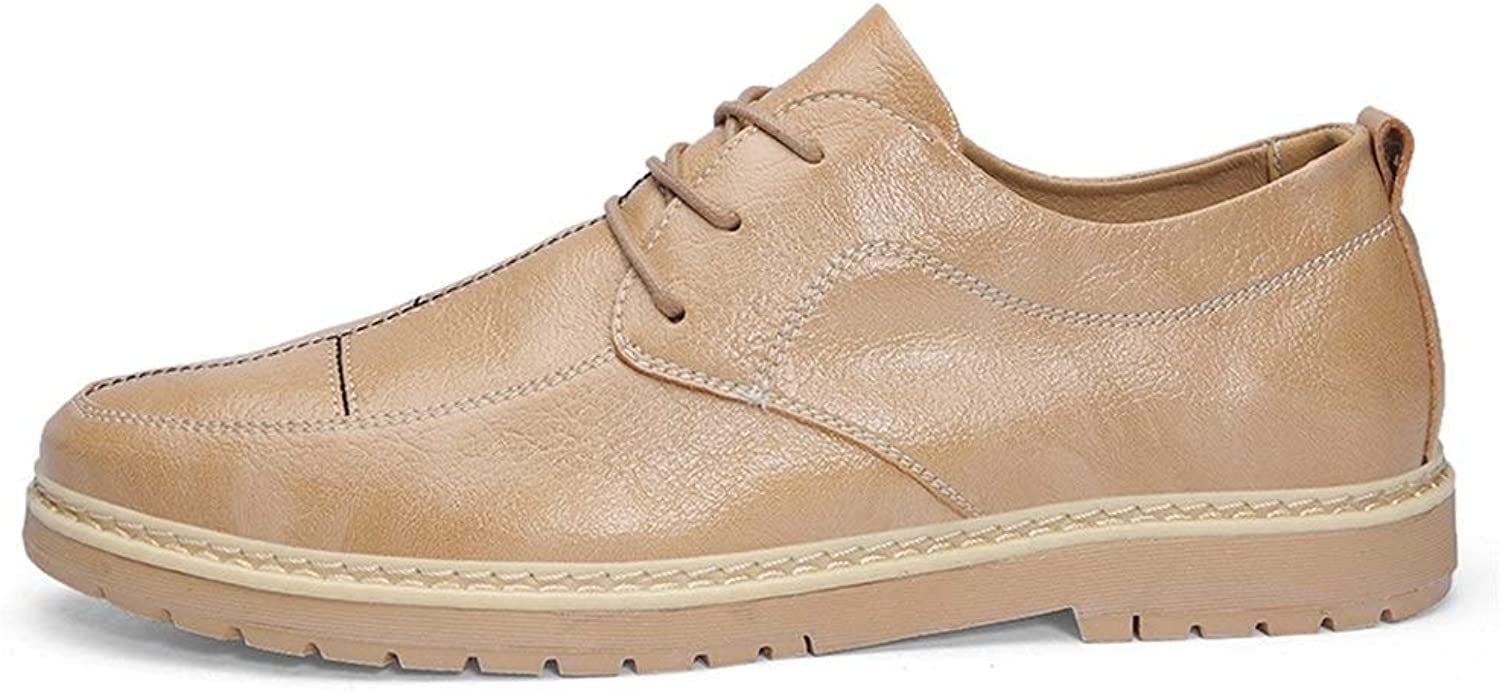 Easy Go Shopping Oxford shoes For Men Lace Up Formal shoes Microfiber Leather Leisure Sports shoes Cricket shoes (color   Sand, Size   8.5 UK)