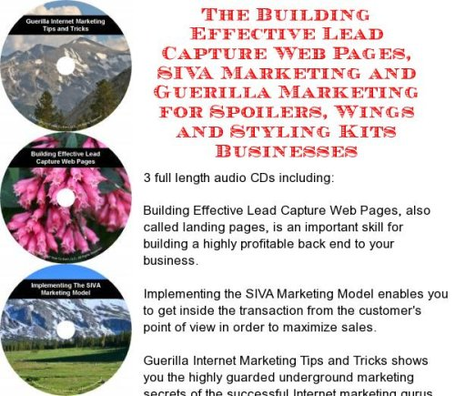 The Guerilla Marketing, Building Effective Lead Capture Web Pages, SIVA Marketing for Spoilers, Wings and Styling Kits Businesses