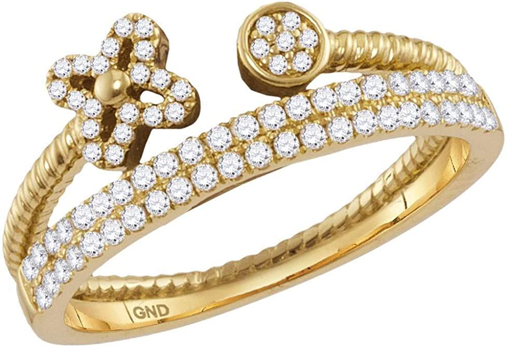 10K Yellow Gold Womens Round Bombing free shipping B Diamond Flower Stackable Bisected Branded goods