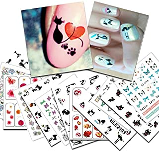 KADS New 26pcs/set Cute Hearts and Black Cat&Butterfly Design Nail Self Adhesive Sticker Nail Art Decals Transfer Nail Art Manicure Sticker Decorations