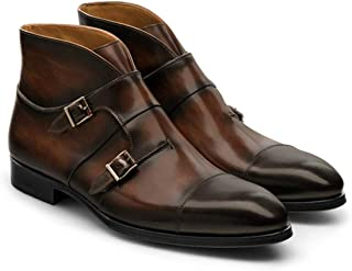 Brescia Double Monk Strap Stylish Derby Genuine Leather Brown Shoes