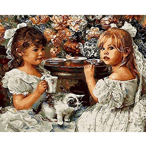 Malen Nach Zahlen DIY Ölfarbe durch Anzahl Kit, Anna Und Sally DIY Digitale Malerei Kit Erwachsene Anfänger Kinder Leinen Leinwand (Ohne Rahmen) 16x20 inch (40x50 cm)