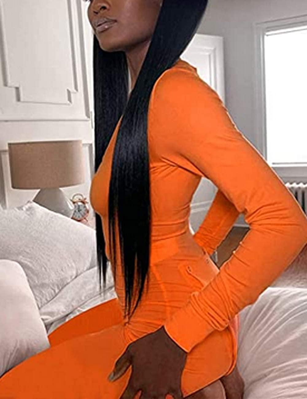 Huyghdfb Womens Butt Button Back Flap Jumpsuit Pajamas V Neck Long Sleeve One Piece Bodycon Rompers Onesies