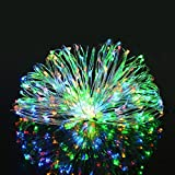 Aluvee Solar String Copper Wire Light,50ft/150LED Outdoor Waterproof Garden Decoration Copper Wire Christmas Lamp Wedding Party Tree Xmas Decoration Tree Xmas (Multicolor)
