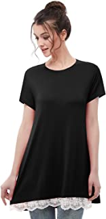 Musever Women's Short Sleeves Tunic Tops Casual Lace T-Shirt Blouse
