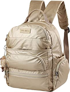 Nylon Large Waterproof Backpack for School Travel,Lightweight Casual Sports Daypack for Women (Gold)