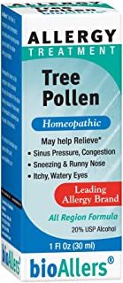 bioAllers Tree Pollen Allergy Treatment | Homeopathic Drops for Sinus Pressure, Congestion, Sneezing, Runny Nose & Itchy, ...