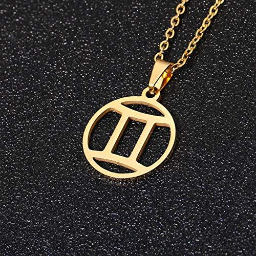 Collar con Colgante de Signo del Zodiaco de 12 Constelaciones de Acero Inoxidable Color Dorado/Plateado para Hombres y Mujeres, Regalo de joyería de 50 cm