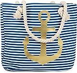 styleBREAKER Strandtasche in Streifen Optik mit Anker, Schultertasche, Shopper, Damen 02012038, Farbe:Blau-Weiß/Gold