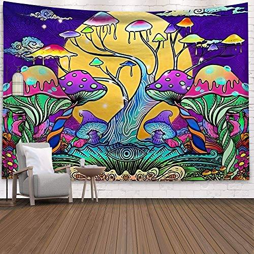 KHKJ India Mandala Mushroom Tapiz cabecera Pared Arte Colcha Dormitorio Tapiz para Sala de Estar Dormitorio decoración del hogar A1 150x130cm