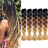 MYCHANSON Synthetic 5Pack Omber Jumbo Braiding Hair Extensions High...