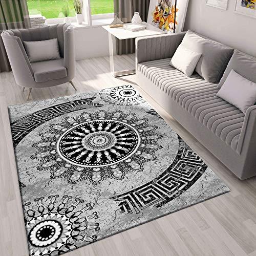 VIMODA Teppich Wohnzimmer Modern Klassisch Sehr dicht Gewebt Meliert Medallion Ornament Muster in Grau Schwarz, Fussbodenheizung geeignet Edel Optik - Top Qualität, Maße:160 x 230 cm