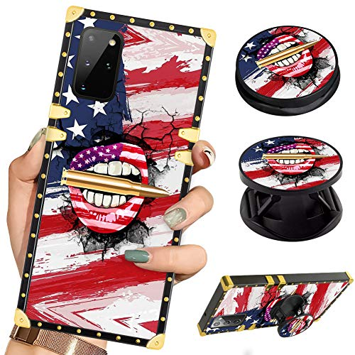 Luxury Square Phone Case Samsung S20 Plus American Flag Lips Bullet Retro Elegant Soft TPU Design Cover for Samsung Galaxy S20 Plus 2020