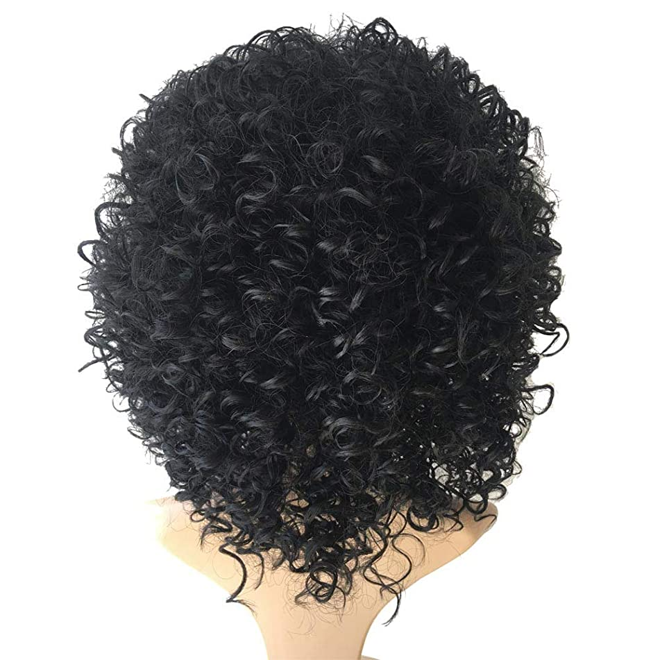 Nopeak Brazilian Short Curly Heat Resistant Bob Wave Black Natural Looking Women Wigs (Black)