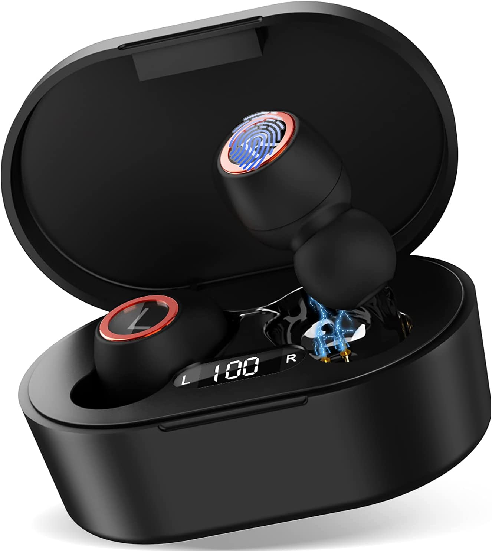 UX923 Wireless Earbuds Bluetooth 5.0 Sport Headphones Premium Sound Quality Charging Case Digital LED Display Earphones Built-in Mic Headset for Huawei Y8s