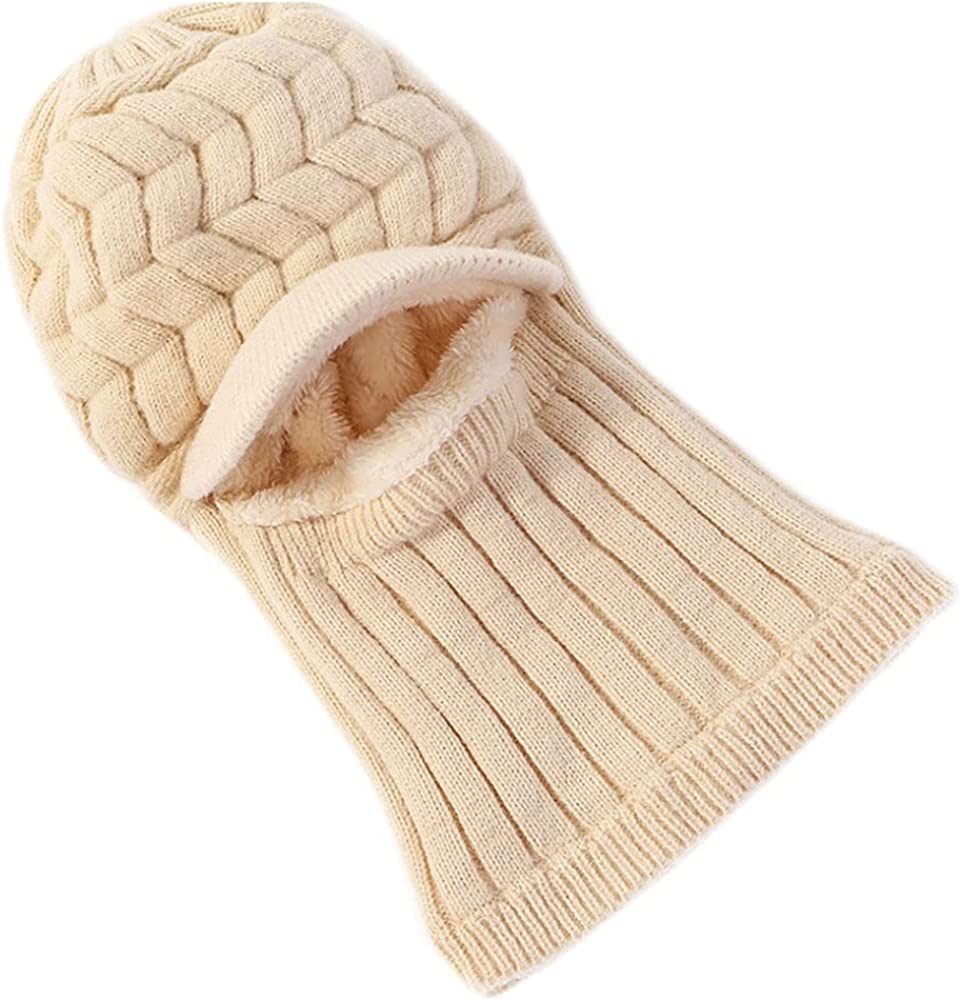Solyinne Knit Beanie Cap for Womens Winter Warm Knit Crochet Skull Cap with Neck Warmer Outdoor Beanie Hat