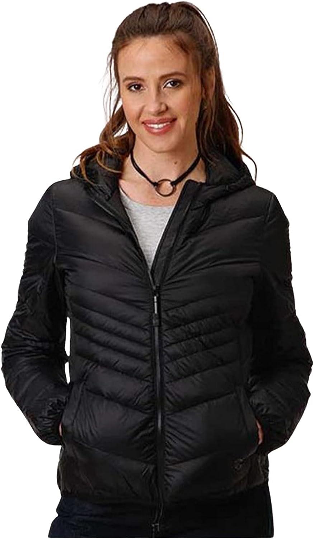 Roper Women's Lightweight Down Quilted Hooded Jacket Black Medium