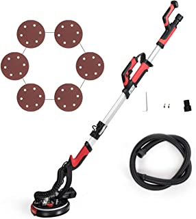 Goplus 750W Drywall Sander with LED Light and Collection Bag, Variable Speed 900-1800 RPM Electric Drywall Sander with Telescope Handle and 6 Sand Pads, Dust-Free Wall Grinding Machine