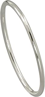 Paialco 标准纯银圆顶戒指舒适贴合中长戒指 2mm 细窄尺寸