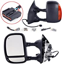 Roadstar Towing Mirrors Fit for 1999-2007 Ford F250 F350 F450 F550 Super Duty 2001-2005 Ford Excursion Tow Mirrors Power Heated with LED Signal Light Side Mirrors