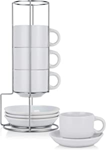 Espresso Coffee Cup Set with Stand Stackable Coffee Mug Set of 4 Coffee Mug Set with Saucers and Metal Stand Mug set of 4 White Mug with Holder for Coffee Tea 8 Oz