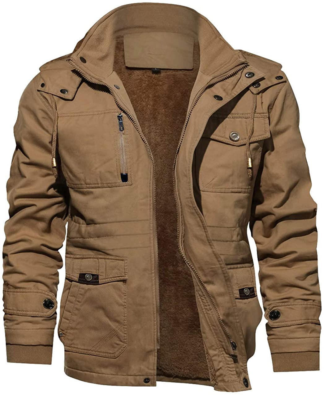 TACVASEN Men's Jacket-Casual Winter Cotton Recommendation Thick Jacket Some reservation Military