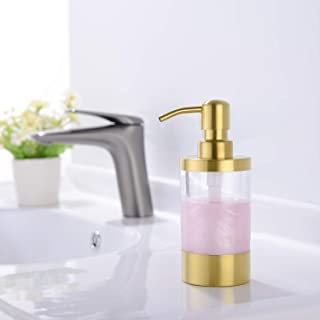 Countertop Soap Dispensers WENKEN Lotion Clear Bottle With Rust Proof Stainless Steel Pump, Lotion/Soap Dispenser for Kitchen or Bathroom Countertops Brushed Gold 250ml