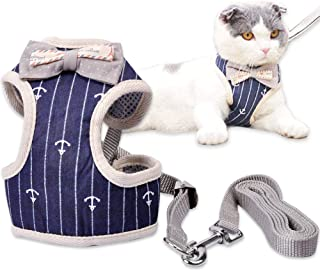 MyfatBOSS Cat Leash, Cat Harness and Leash, Adjustable Pet Mesh Vest Leashes for Small Large Cats Walking Escape Proof (S)