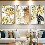 Plantes nordiques, peintures sur toile doré et affiches d'images murales imprimées pour le salon, salle à manger, décor moderne/sans cadre / 50 * 70 cm
