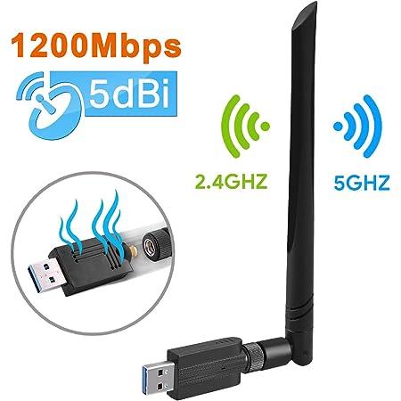 Maxesla Chiavetta WiFi USB, 1200M Antenna WiFi USB per PC, ad Alta velocità 802.11ac 5dBi Dual Band 2.4/5GHz USB WiFi Adattatore, di Rete Chiavetta Internet per PC/Desktop/Laptop, per Windows, Mac OS