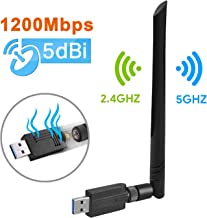 USB WiFi Adapter – Maxesla 1200M WiFi Dongle High Speed 802.11ac 5dBi Dual Band 2.4/5GHz Wireless Network Adapter for PC/Desktop/Tablet/Laptop, Compatible with Windows, Mac OS X