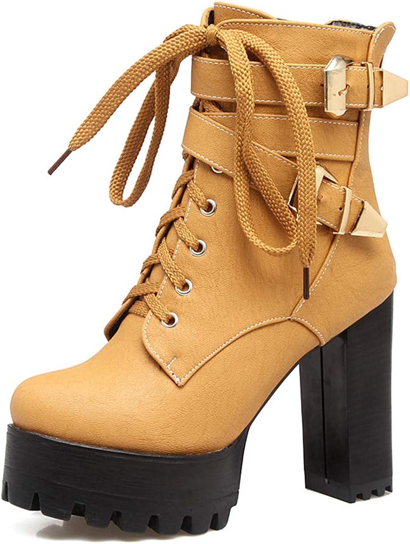 Autumn Winter Women's Ankle Boots Black 11cm High Heels Platform Boots Buckle Lace Up Booties shoes Woman