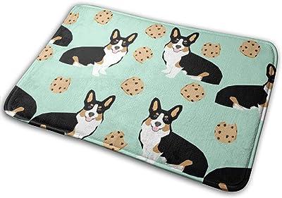 """Tricolored Corgi Dog Dogs and Cookies Design - Mint_24237 Doormat Entrance Mat Floor Mat Rug Indoor/Outdoor/Front Door/Bathroom Mats Rubber Non Slip 23.6"""" X 15.8"""""""