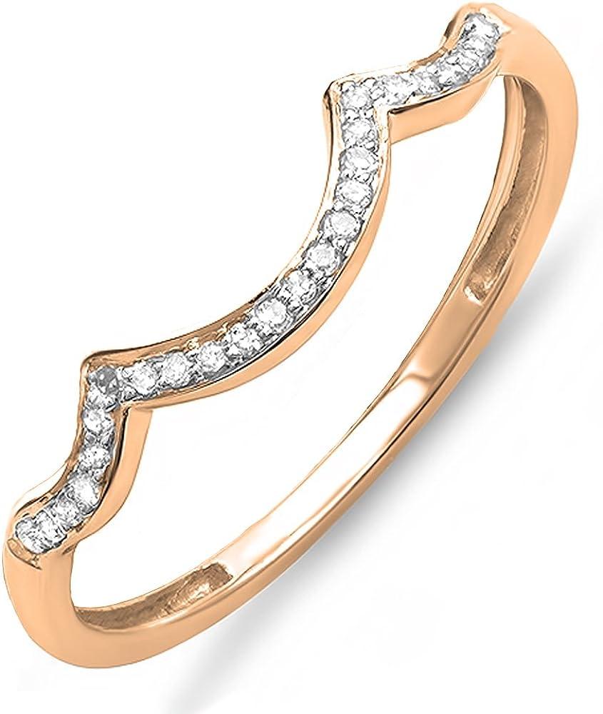 Dazzlingrock Collection 0.10 Carat (ctw) Round Diamond Ladies Stackable Wedding Contour Band Guard Ring 1/10 CT, 14K Gold