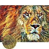Staroar Crytal - Kit de pintura con diamantes de imitación (25 colores, 35 x 45 cm), diseño de león