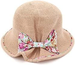 2019 Women Womens Summer Straw Hat Flower Travel Hat for Women Folding Sun Hat Photo Beach Hat Bowknot Visor Breathable Elegant Mesh Sunscreen Outdoor (Color : Pink, Size : 56-58CM)
