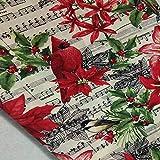 LINGE Plain Cotton Weihnachtsmusik Note Bird Flower Printed