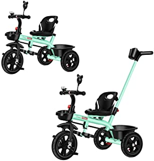 2 in 1 Kids Push Along Tricycle Baby Toddler Trike Bike 3 Wheel Ride On Toy Children Infant Stroller Parent Handle Comfort...
