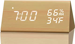 Digital Alarm Clock, with Wooden Electronic LED Time Display, 3 Alarm Settings, Humidity & Temperature Detect, Wood Made Electric Clocks for Bedroom, Bedside� (Yellow)
