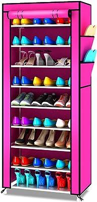 FANJIANI Zapatero Simple de Tela Zapato Hierro Forjado a Prueba de Polvo Armario de Zapato de múltiples Capas (Color : Rosado)