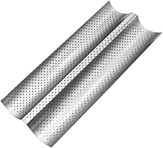 Detectorcatty 2 Grooves Wave French Bread Baking Tray Carbon Steel Mold Non-stick Perforated Baking Tool For Baguette Bake Pan
