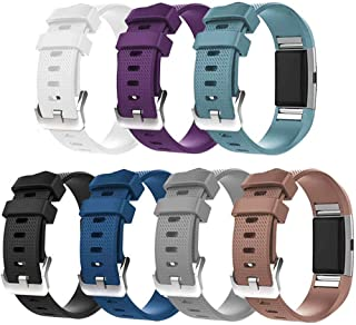 ZSZCXD for Fitbit Charge 2 Bands, New Bracelet Strap Replacement Band Wristband with Secure Silicone Fasteners Metal Clasps for Fitbit Charge 2 (No Tracker)